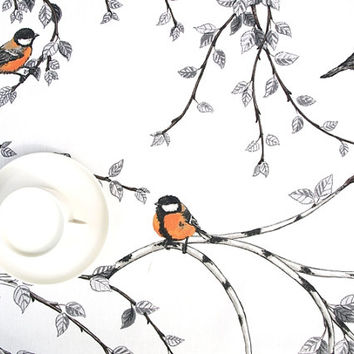 Tablecloth white silver grey birch tree brunches orange birds table cloth,table runner , napkins , pillow , curtain available, great GIFT