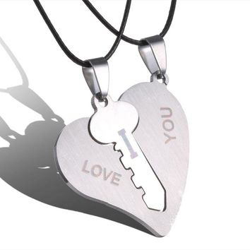 Couple Necklaces Set Pendant Necklace Engrave I Love You Matching Hearts Key 316L Stainless Steel Couple Puzzles Valentine's Day