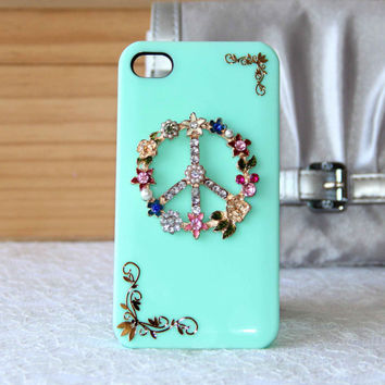 Anti war peace sign pearl flowers rhinestone case for iPhone 5 iPhone 4 4s phone case golden metal welt friendship love gifts trending
