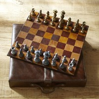 SADDLE LEATHER TRAVEL CHESS SET
