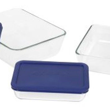 Pyrex Simply Store 6-Piece Rectangular Glass Food Storage Set Rectangle 6004023