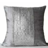 Decorative Throw Pillows -Grey color block in silk sequin bead detail cushion cover-sequin bead pillow -18X18 - Gift pillow -Couch Pillows