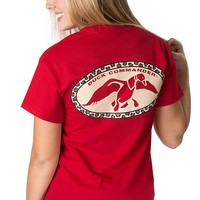 Duck Commander® Women's Red with Leopard Print Logo Short Sleeve Tee