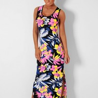 Wild Flores Black Neon Multi Floral Maxi Dress | Pink Boutique