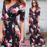 Women's Vintage Boho Long Maxi Evening Party Beach Dress Floral V-Neck Sundress