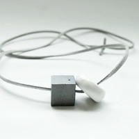 Concrete + Ceramic Cord Necklace