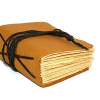 Rustic Leather Journal for Men in Mustard Yellow - Wedding Book- Groomsmen gift, unique