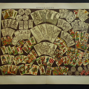 PLAYING CARDS print of game card design 1911 old vintage pictures of set deck history antique prints illustration poker player gifts