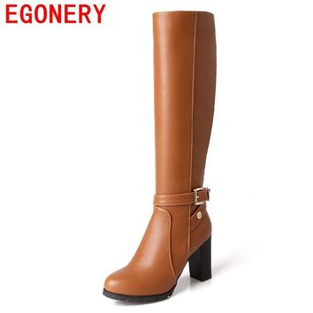egonery women knee high boots 2017 new style high heel round toe shoes woman winter PU leather upper female winter party boots