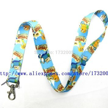 New 10 Pcs Adventure Time Finn and Jake  Key Chains Neck Strap Keys  Lanyards Free Shipping LM0401