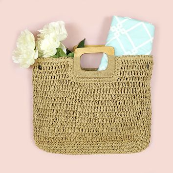 Natural Square Straw Purse