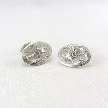 Art Nouveau Unger Brothers Sterling Silver Cufflinks Early 1900s Antique Floral Cuff Link Fine Jewelry Mens Accessory