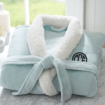 Ladies Sherpa Robe with Glitter Monogram ~Mint Green