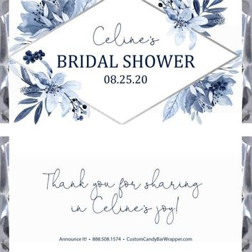 Navy Bridal Shower Candy Bar Wrappers