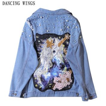 Novelty Sequins Cartoon Pattern Embroidery Denim Jacket Loose Light Blue Beading Pearls Ripped Holes Women's Coat