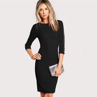 Pearl Beading Form Fitting Dress Women Clothes Elegant Bodycon Dresses Ladies Knee Length Midi Dress