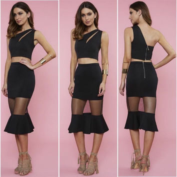 Black  Cutout Sleeveless Crop Top  Sheer Mesh Flounced Skirt Set
