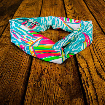 Lilly Pulitzer Headband, Yoga Headband, Running Headband, Workout Headband, Pool Headband, Colorful Headband, Preppy Headband, Lilly P
