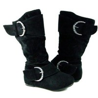 Toddler Girls Ositos Destiny-I Black Faux Suede Zip Boots