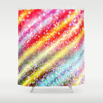 glitter stripes Shower Curtain by Haroulita