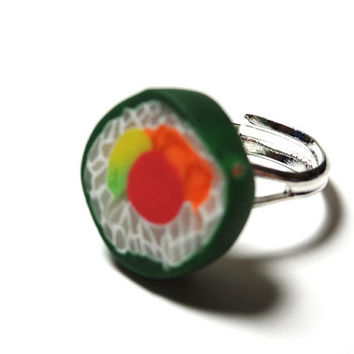Sushi Roll Ring - Polymer Clay Miniature Food on a Silver Plated Adjustable Ring Base