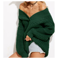 New V-neck thick solid knitted women's loose sweater dress