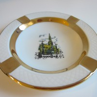 Bruxelles Architectural Ashtray By DCP Belgium Peint Main Gold Accent
