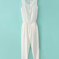Sleeveless Mesh Accent Chiffon Jumpsuit