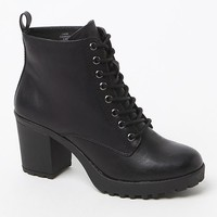 Mia Kat Faux Leather Combat Boots - Womens Boots - Black