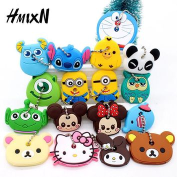 Cartoon Anime Minion Cute Owl Key Cover mickey stitch Bear Keychain Silicone Hello Kitty Holder porte clef Ring cat cap chain