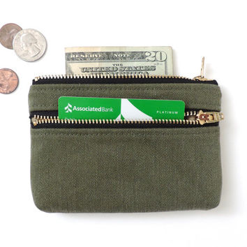 Wallet Coin Purse Double Zipper Pouch Recycled Military Cotton