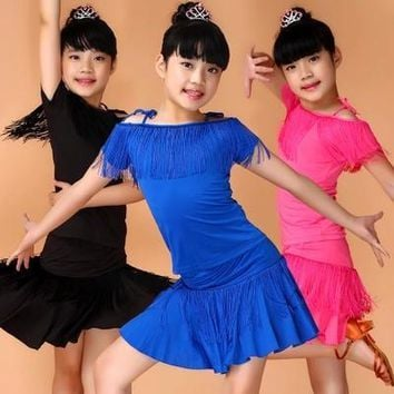 Latin Fringe Dance Dress For Girls Kids Tassel Latin Ballroom Dress Salsa Tango Dance Clothes Children Samba Rumba Dance Costume