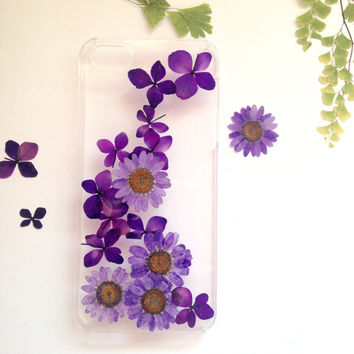 Handmade Real  Natural Pressed Flowers iphone 6 6 plus case iphone 4s 5 5s 5c case cover Samsung galaxy s5 note 2 note 3 case purple new