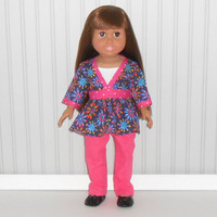 18 inch Doll Clothes Navy Ruffle Top with Hot Pink Pants and White Tank Top American Doll Clothes