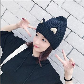 Ymsaid2017 Winter New Super warmth Women Woolen Knitting Beanie Cartoon Cat Ear Crochet Braided Knitted Fur Cap lovely Girls Hat