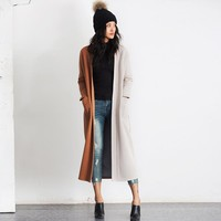 Vintage Patchwork Long Trench Coat
