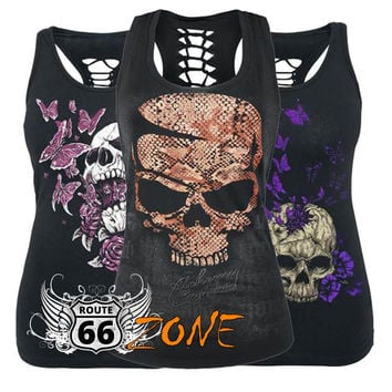 Graphic Biker Chick Tank Top with Shredded Back - Plus Sizes
