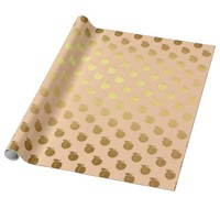 Peach Pastel Fruits Golden Foil Birthdays Wrapping Paper