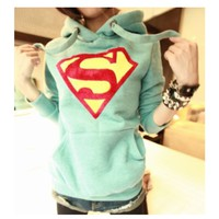 Superman Hoodies in Mint Green
