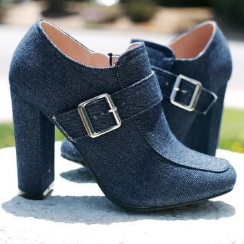 Buckle Accent Denim Chunky Heeled Booties