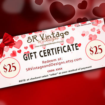 Gift Certificate 25 USD, Valentine's Day Gift, SR Vintage and Designs Gift Certificate, Hearts Gift Card, Custom Gift, Surprise Gift