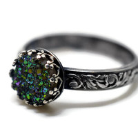 Green Druzy Ring, Renaissance Style Ring, Floral Band, Gemstone Jewelry