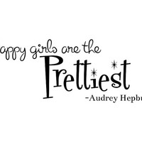 Happy girls are the prettiest wall decal words quote sticker. Audrey Hepburn