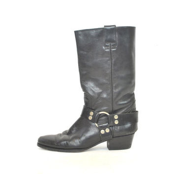 vintage 1980s black leather ENGINEER motorcycle harness biker GUESS by georges marciano BOOTS, 8.5 39 6