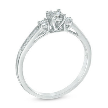 1/6 CT. T.W. Diamond Three Stone Promise Ring in 10K White Gold - View All Rings - Zales