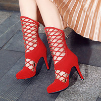 Gladiator Style Hollow Out Platform High Heel Summer Boots 5117