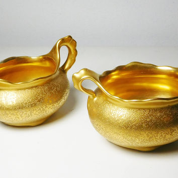 Gold Painted Sugar Bowl and Creamer Vintage 24K or 22K Golden Engraved China Signed Osborne Austria Fully Painted With Handles No Chips