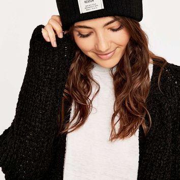 Reason Ribbed Black Beanie - Urban Outfitters