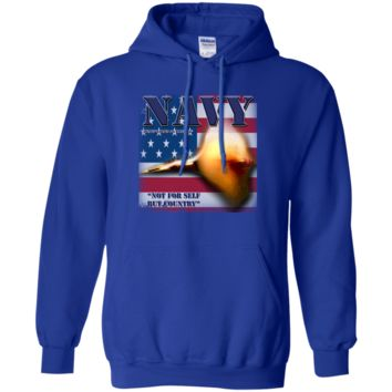 UNITED STATES NAVY : NOT FOR SELF BUT COUNTRY :: G185 Gildan Pullover Hoodie 8 oz.