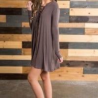 Tara Lace-Up Dress (Tobacco)